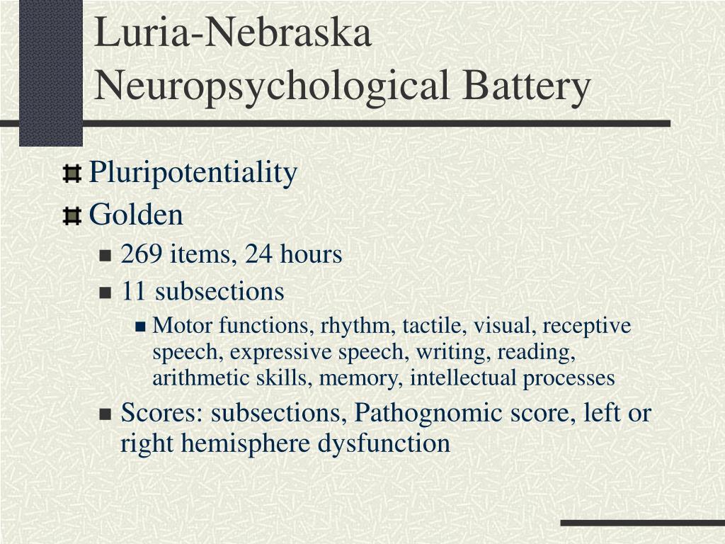 Luria-Nebraska Neuropsychological Battery