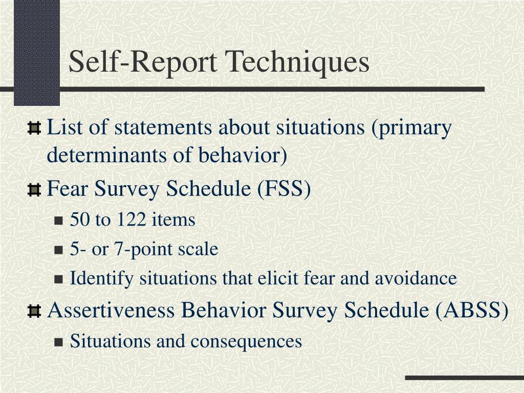 Self-Report Techniques