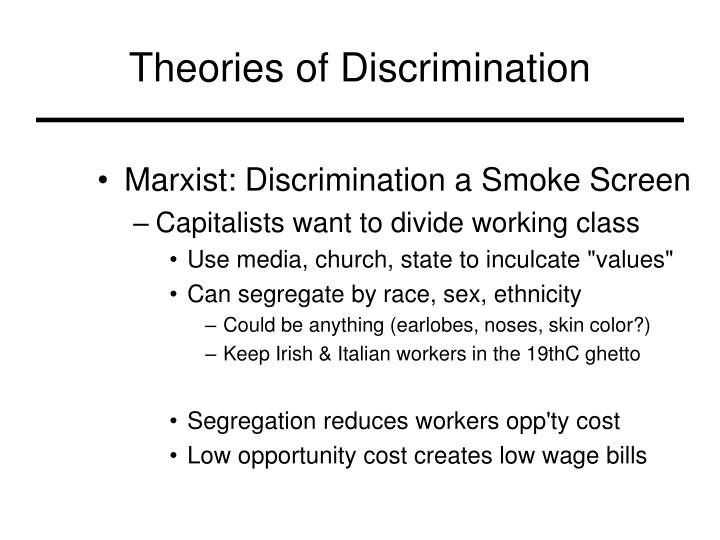 theories of discrimination Most economists are fully aware of two economic theories of discrimination, animus-based discrimination and statistical discrimination be on the lookout for institutional discrimination, which we want to remove from our classrooms and profession but include in lessons about how discrimination can affect economic markets.