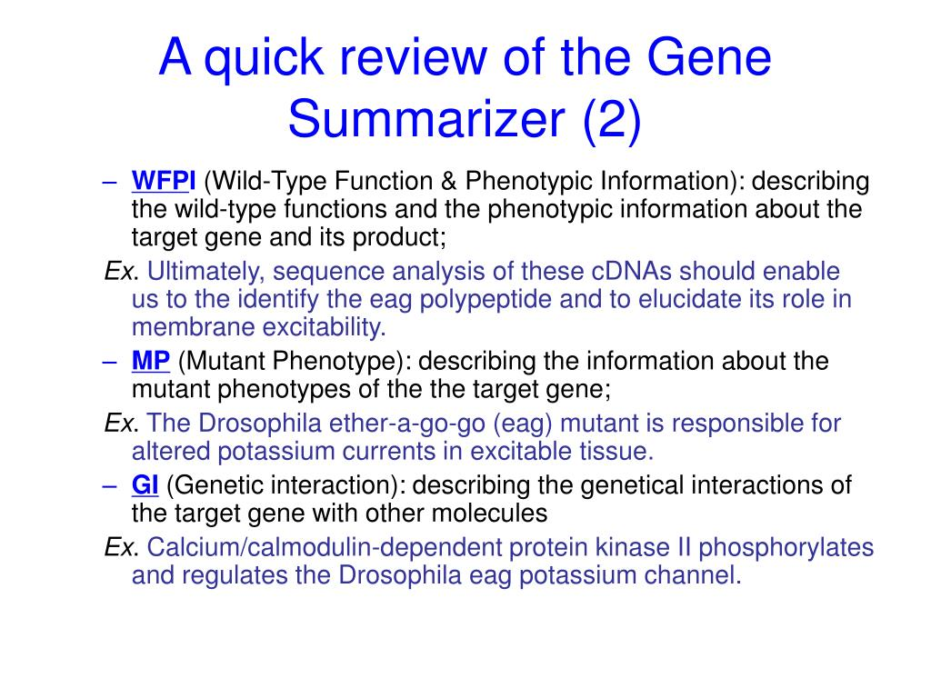 A quick review of the Gene Summarizer (2)