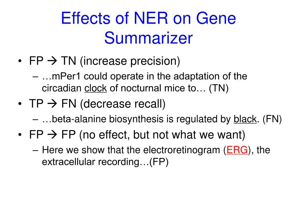 Effects of NER on Gene Summarizer