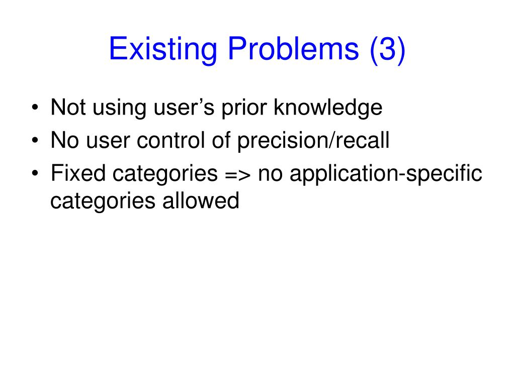 Existing Problems (3)