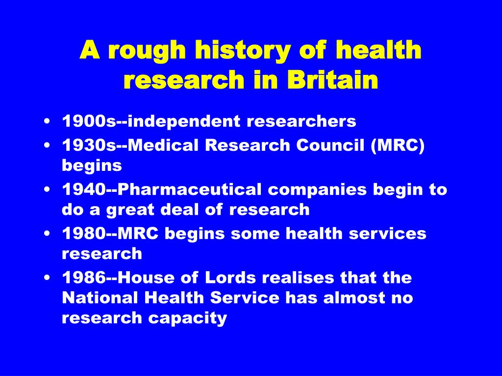 A rough history of health research in Britain