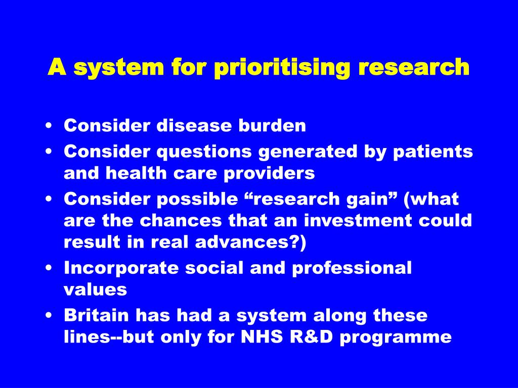 A system for prioritising research