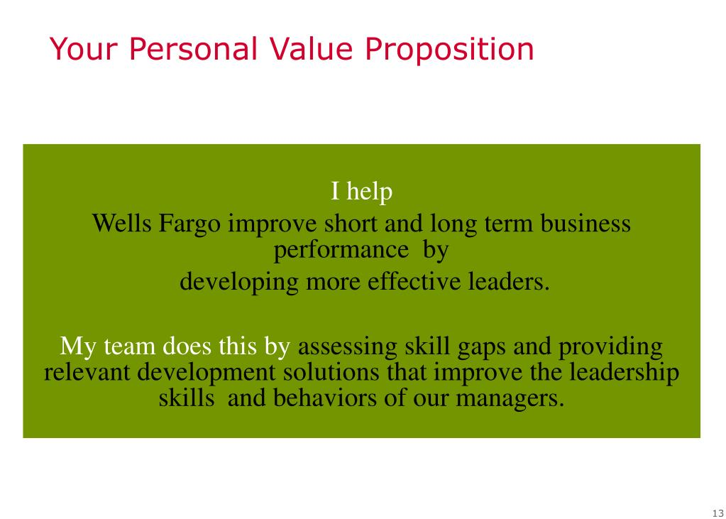 Your Personal Value Proposition