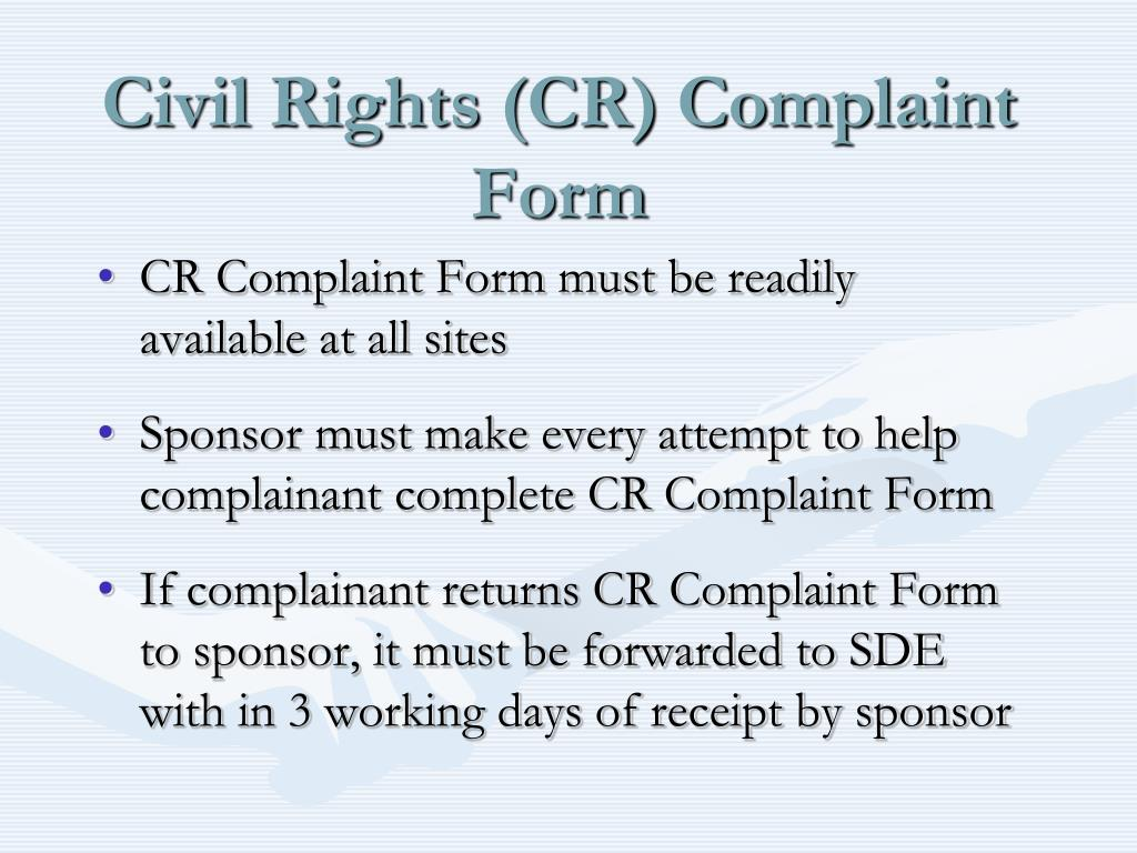 Civil Rights (CR) Complaint Form