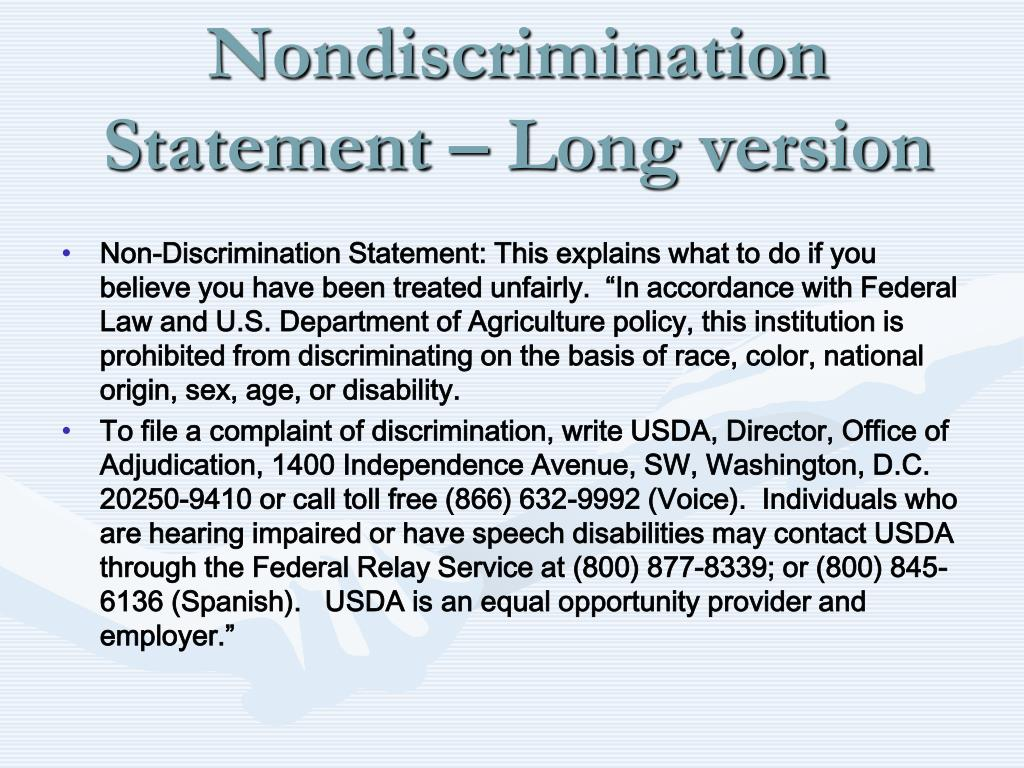 Nondiscrimination Statement – Long version