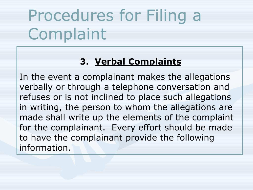 Procedures for Filing a Complaint
