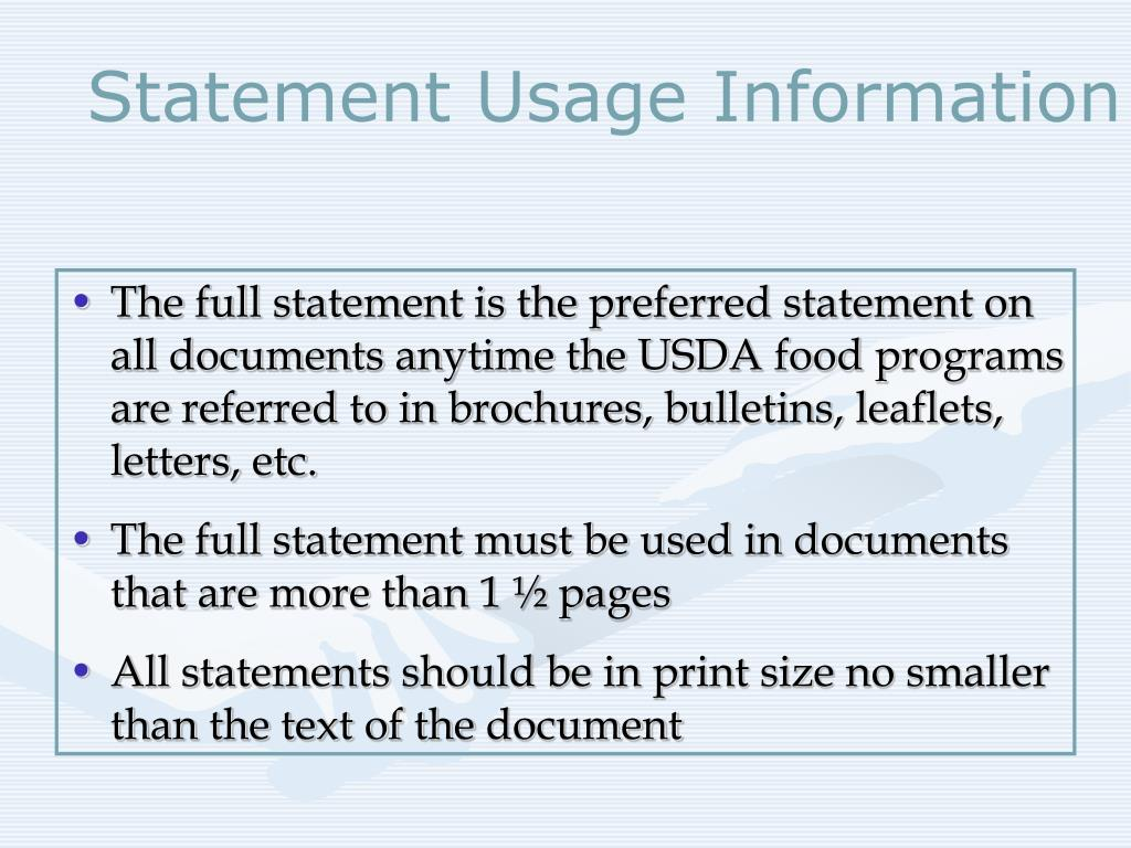 Statement Usage Information
