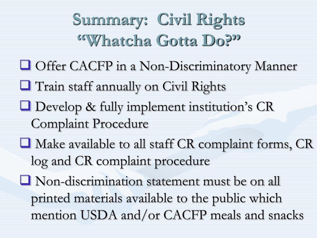 Summary:  Civil Rights