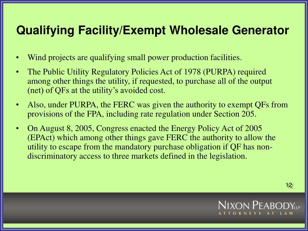 Qualifying Facility/Exempt Wholesale Generator