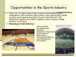 opportunities in the sports industry