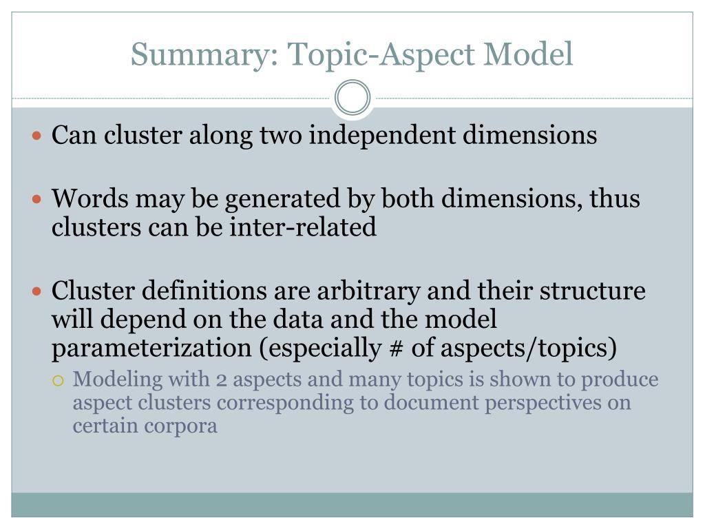 Summary: Topic-Aspect Model