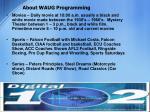 about waug programming