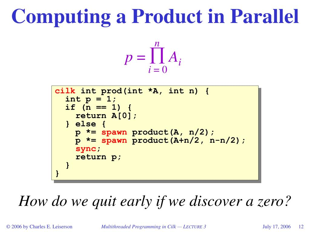 Computing a Product in Parallel