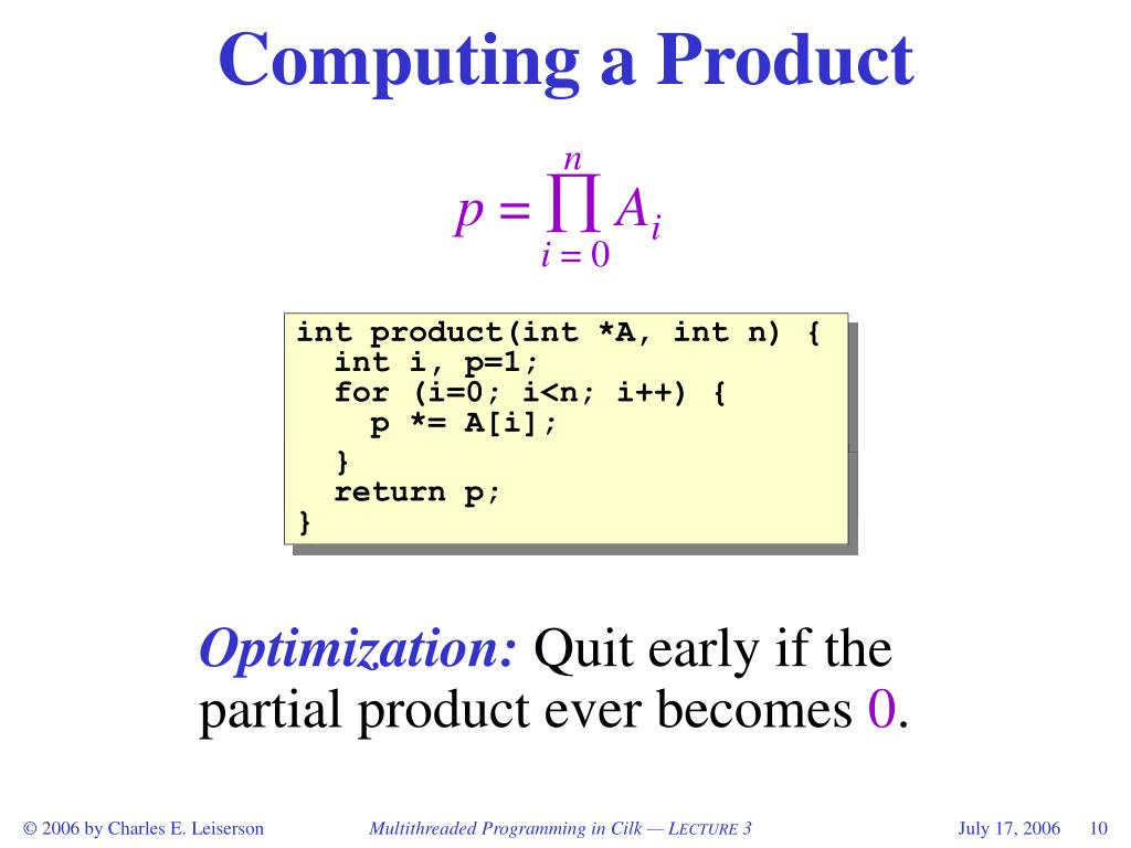 Computing a Product