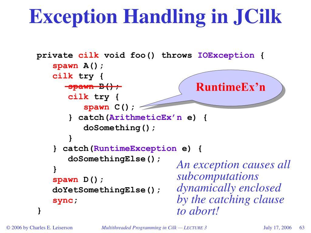 Exception Handling in JCilk