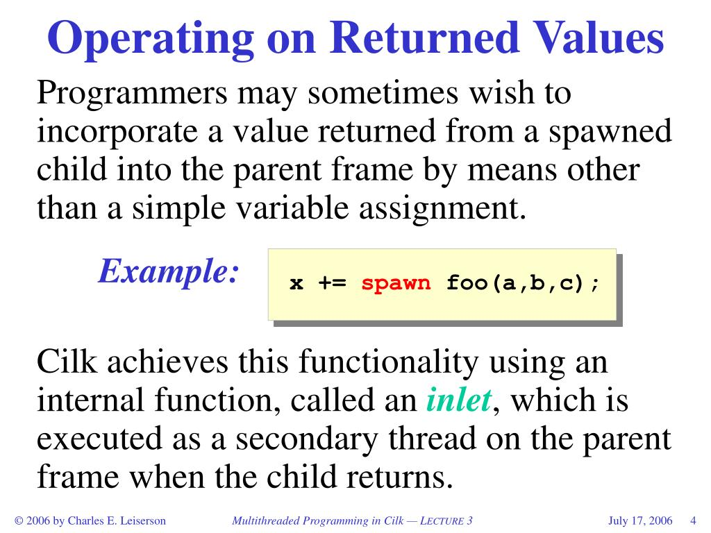 Operating on Returned Values