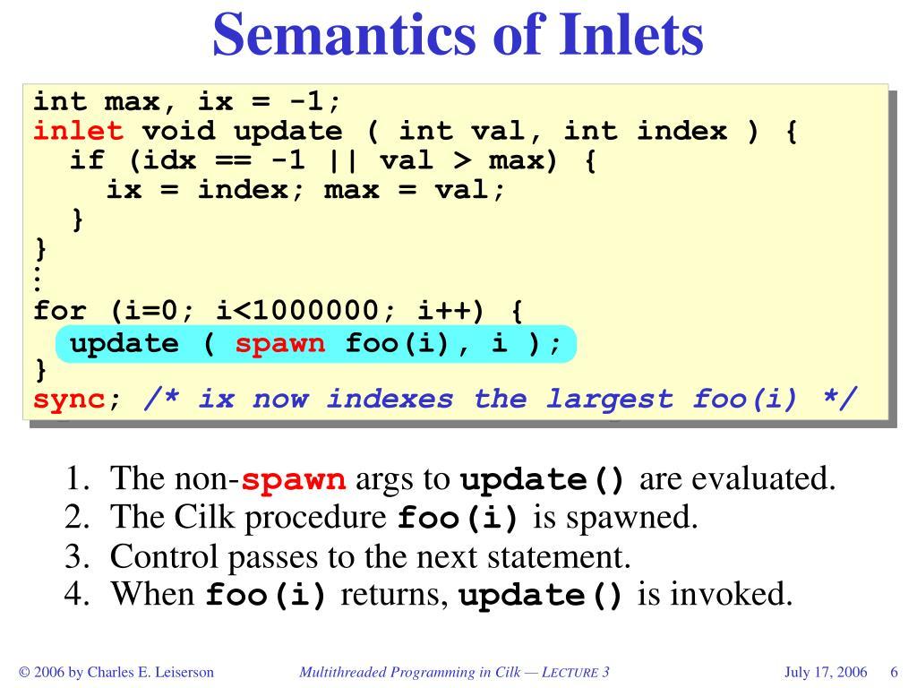 Semantics of Inlets