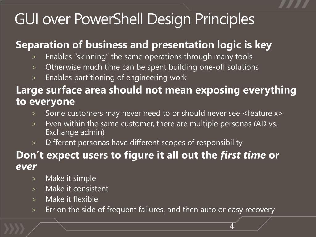 GUI over PowerShell Design Principles