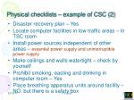physical checklists example of csc 2