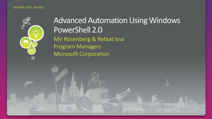 advanced automation using windows powershell 2 0 n.