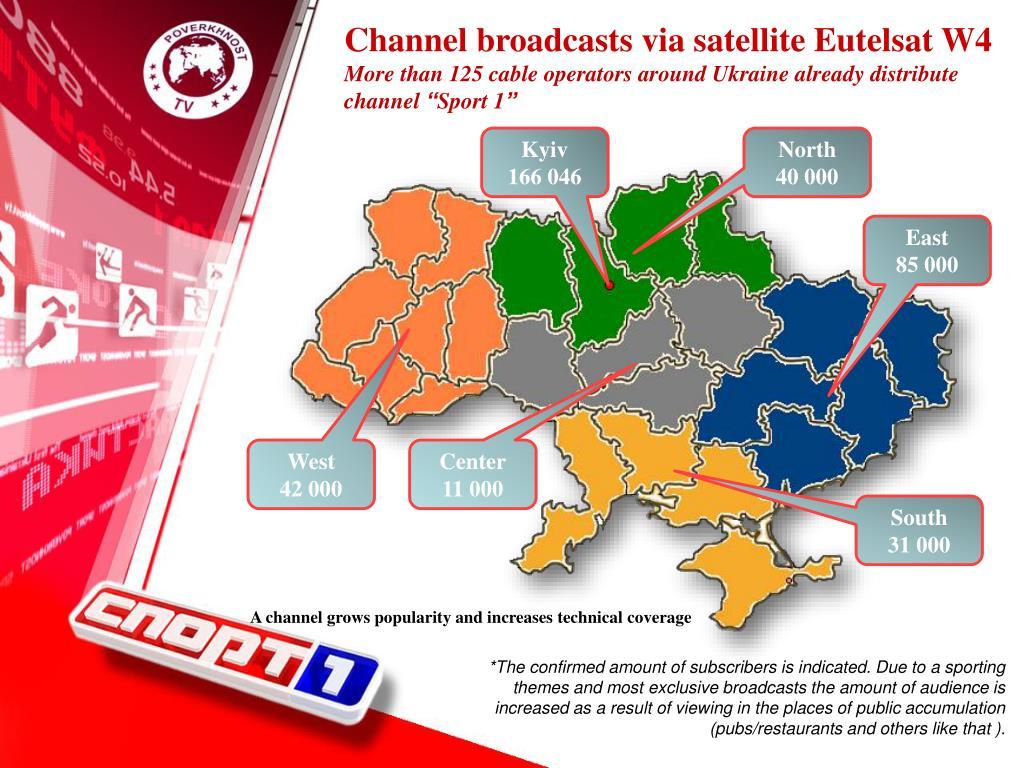 Channel broadcasts via satellite Eutelsat W4