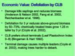 economic value defoliation by clb77