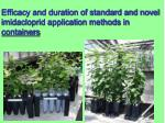 efficacy and duration of standard and novel imidacloprid application methods in containers