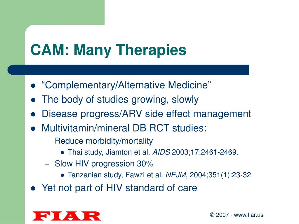 CAM: Many Therapies