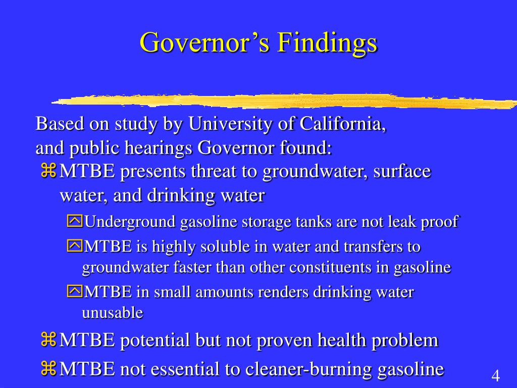 Governor's Findings