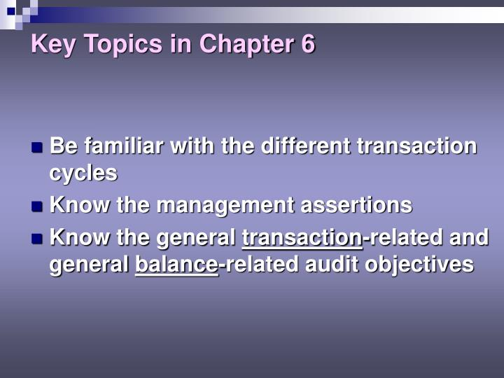 Key topics in chapter 63