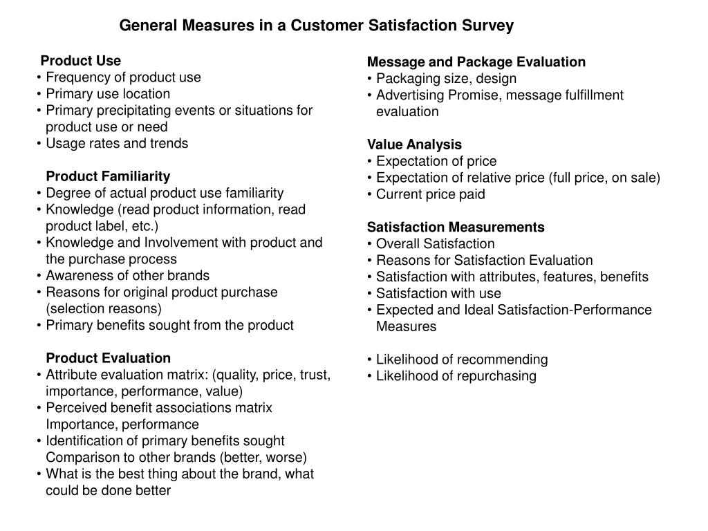 General Measures in a Customer Satisfaction Survey