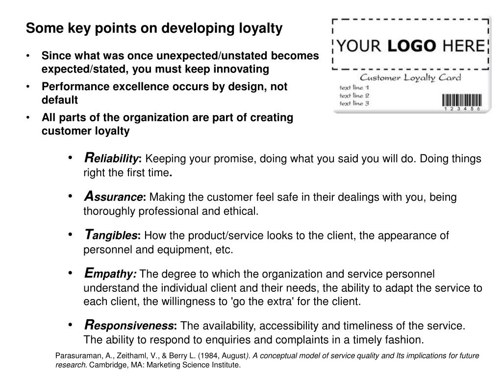 Some key points on developing loyalty