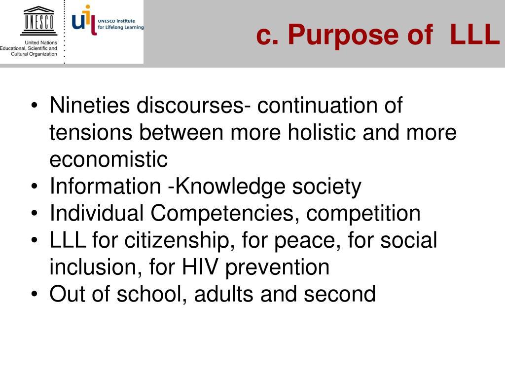 c. Purpose of  LLL