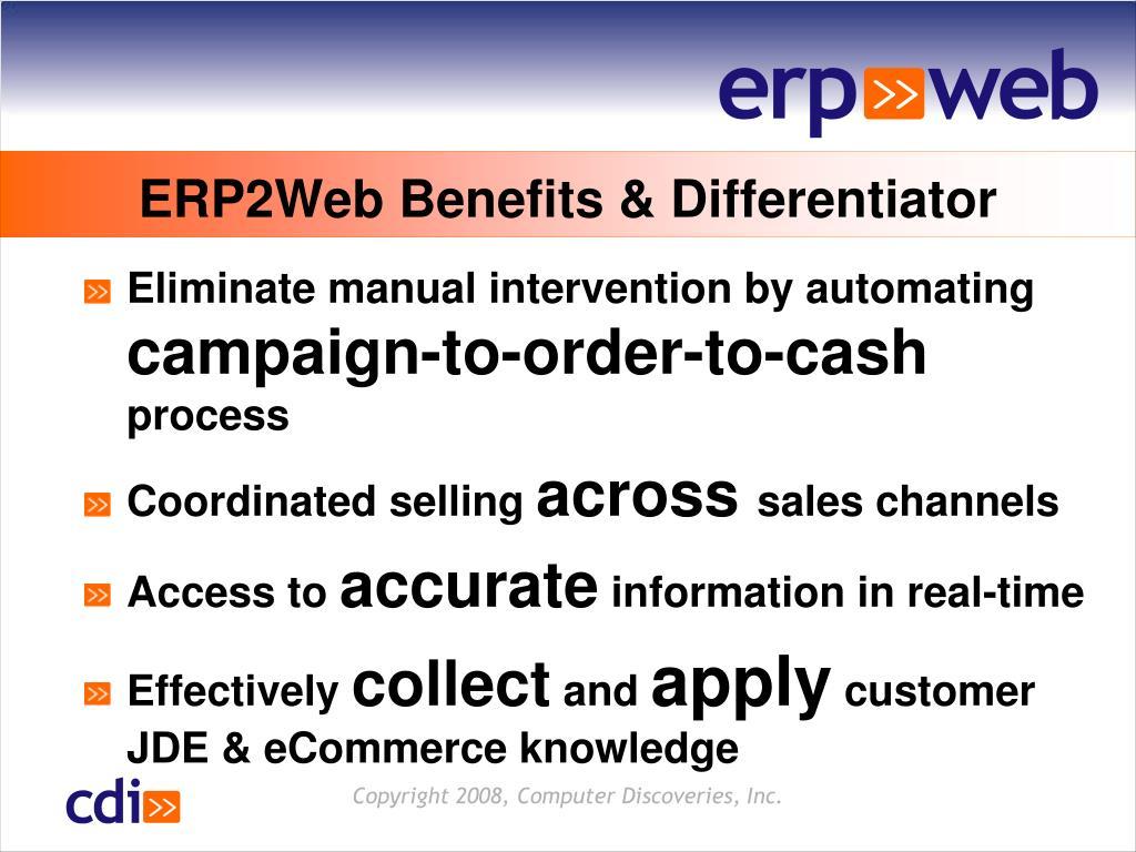 ERP2Web Benefits & Differentiator