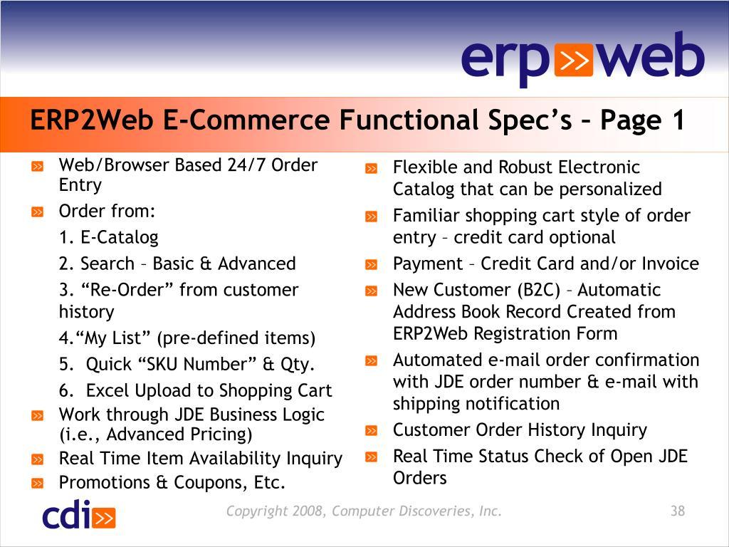 ERP2Web E-Commerce Functional Spec's – Page 1