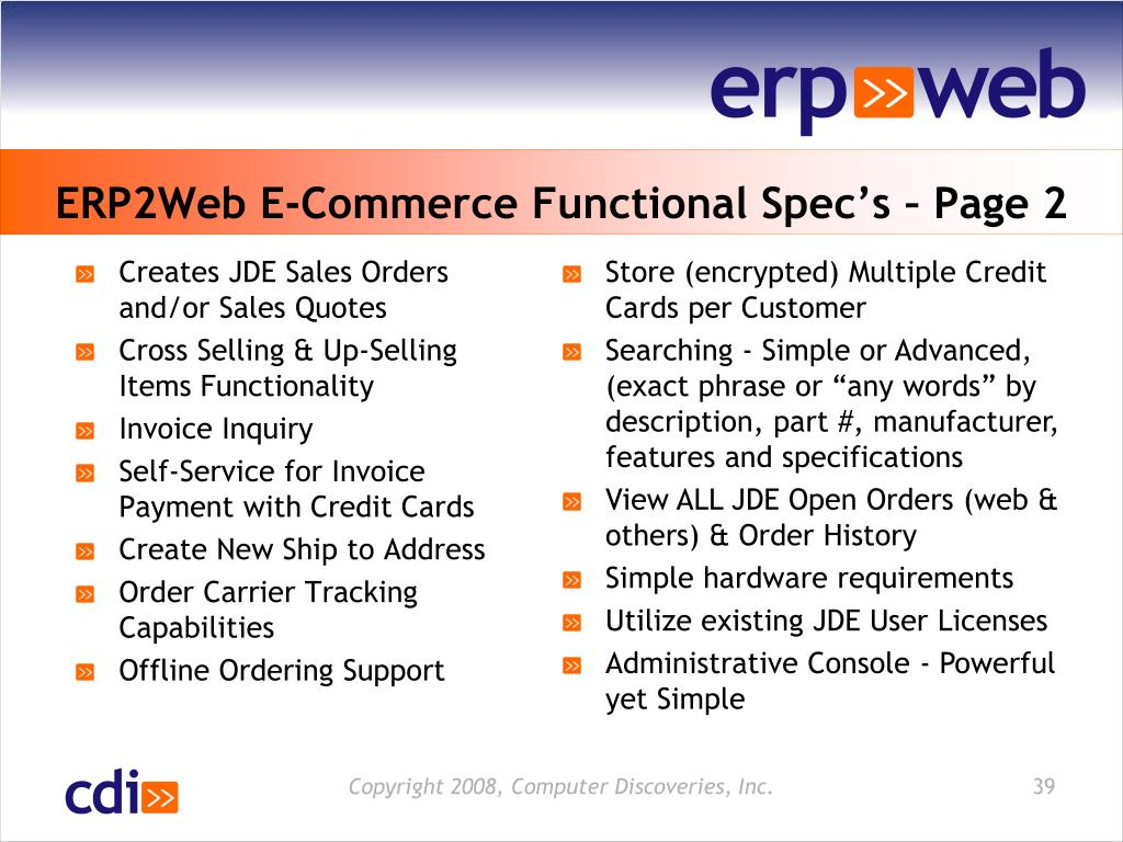 ERP2Web E-Commerce Functional Spec's – Page 2