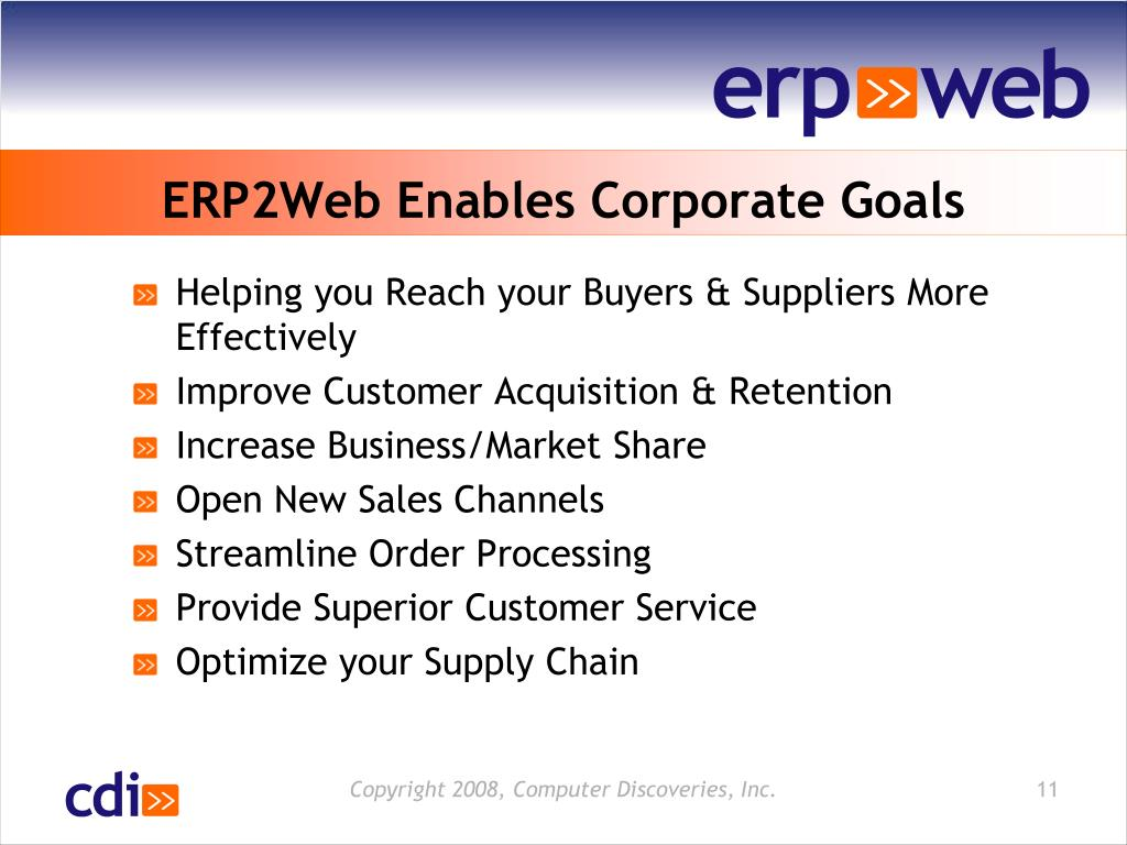 ERP2Web Enables Corporate Goals