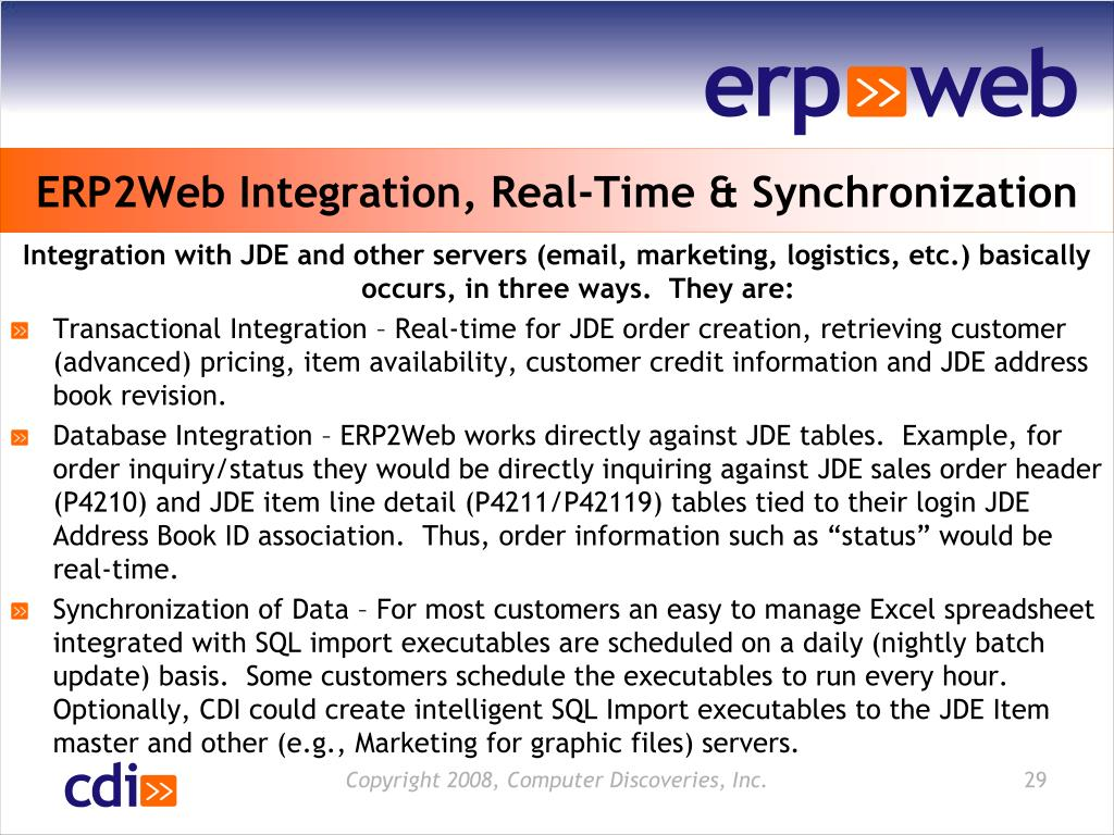 ERP2Web Integration, Real-Time & Synchronization