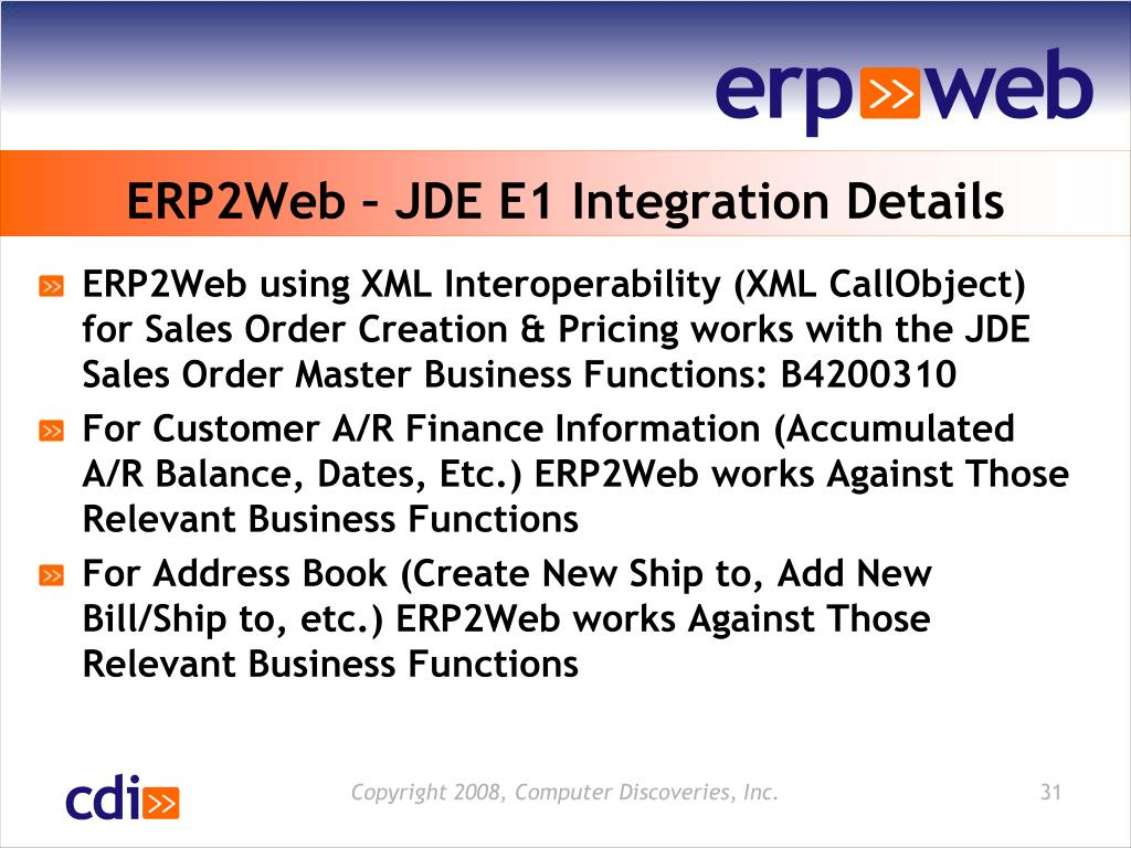 ERP2Web – JDE E1 Integration Details