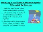 setting up a performance standard system 3 essentials for success