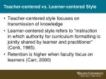 teacher centered vs learner centered style