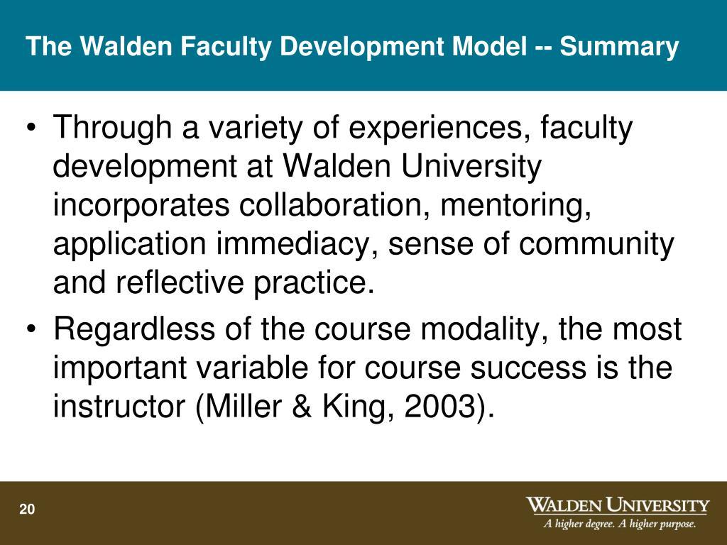 The Walden Faculty Development Model -- Summary