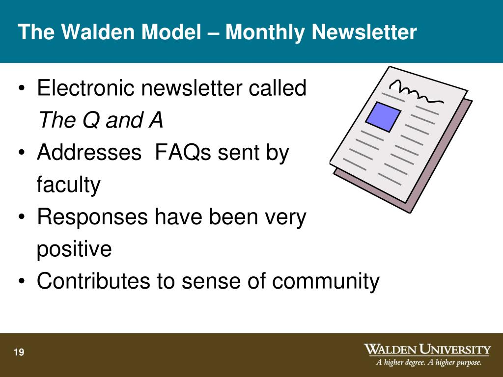 The Walden Model – Monthly Newsletter