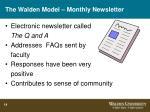 the walden model monthly newsletter