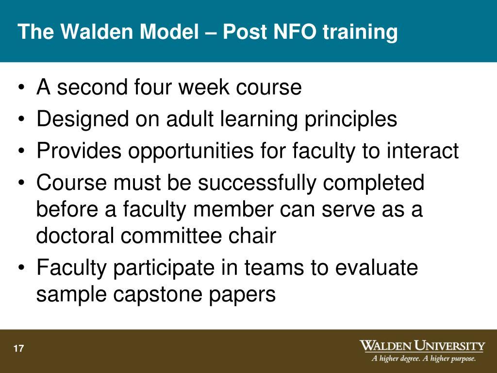 The Walden Model – Post NFO training