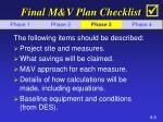 final m v plan checklist