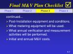 final m v plan checklist7
