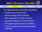 m v overview checklist